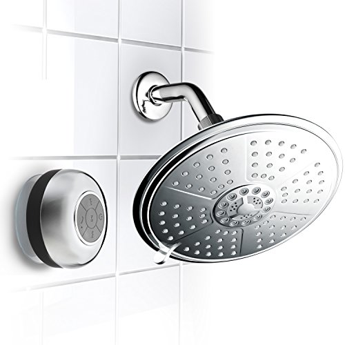 HotelSpa® Cool Shower Ultra-Luxury 7-Setting 7 Inch Rainfall Shower-Head with Matching Chrome Waterproof Bluetooth Shower Speaker