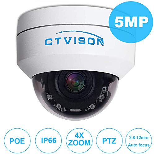 """CTVISON PoE PTZ Camera 5.0MP Auto-Focus Security IP Camera 4X Optical Zoom(2.8-12mm) 2.5""""Mini CCTV IR Night Vision Pan Tilt Zoom Security Dome Camera for Ceiling Installation"""