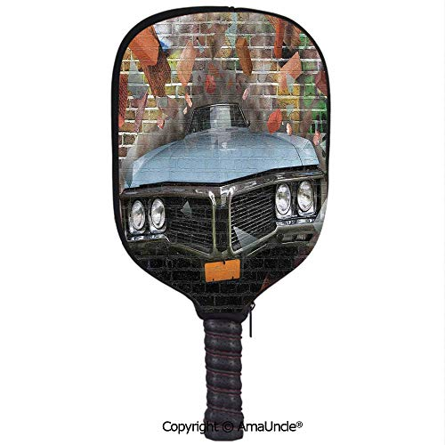 SCOXIXI 3D Pickleball Paddle Racket Cover Case,Graffiti Featured Graphic of Crashing Automobile on A Brick Wall Underground Street StyleCustomized Racket Cover with Multi-Colored,Sports Accessories