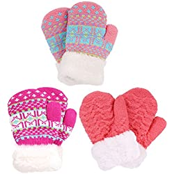 3 Pairs Girls Knit Mittens, Hot Pink+Fair Isle/Hot Pink+Fair Isle/Bubblegum