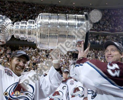 Patrick Roy & Ray Bourque Colorado Avalanche 2001 NHL Stanley Cup Photo 8x10 #2 by NHL