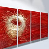 Metal Wall Art, Modern Home Decor, Abstract Artwork Sculpture- Nest in Red
