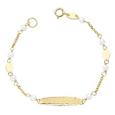 6b4e44060256 Esclava Niña 1ª Comunión Oro 18k 15 cm Perlas (Personalizada con grabado)