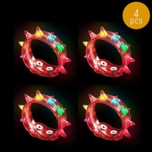 Lumistick LED Spike Bracelet | Light Up Flashing Rivet Punk Silicone Blinking Wrist Bands Night Festival Parties Favors Glowing Toys Supplies (Red, 4 Bracelets) -