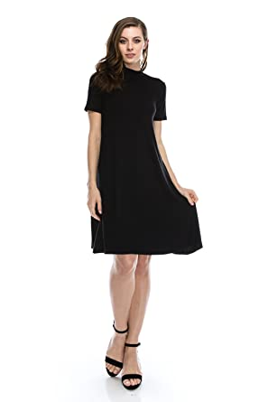 Nelly Aura Plus Size Mock High Neck Solid Casual Tunic Flowy Dress