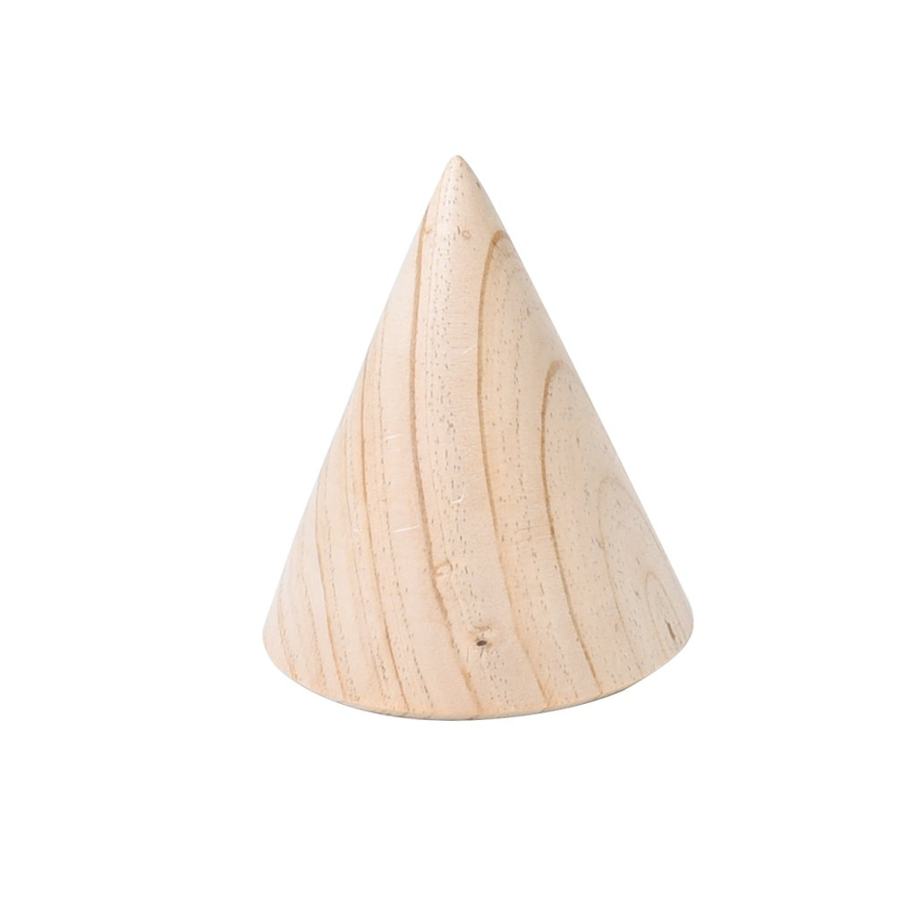 MagiDeal Unfinished 3D Cone Wood Bracelet Jewelry Display Stand Watch Holder Handmade