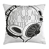 Ambesonne Music Throw Pillow Cushion Cover, Headphones Industrial Design Sketch with Quote Audio Sound Stereo Scribble, Decorative Square Accent Pillow Case, 16 X 16 Inches, Charcoal Grey White