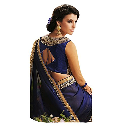 Shree Designer Sarees Women's Repute Brown & Navy Blue Georgette On Silk Saree by Shree Designer Sarees (Image #2)