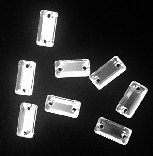 RESIN STONE CRYSTAL RECTANGLE SHAPE FLAT BACK SEW ON OR GLUE ON SELLING PER BAG/360 PCS by TOP TRIMMING