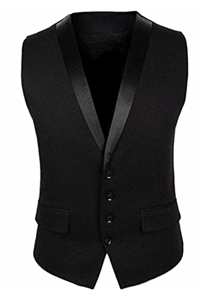 BREGEO Men's Cotton Tuxedo Collar Waistcoat Men's Suits & Blazers at amazon
