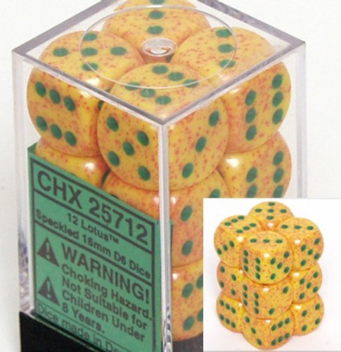 Lotus 16mm D6 Speckled Dice Block of 12
