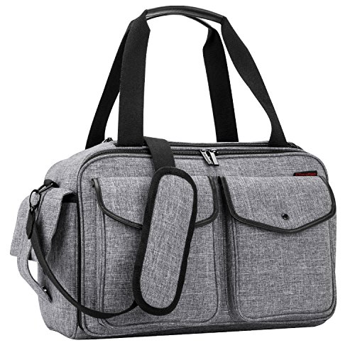 NiceEbag Baby Diaper Bag/Diaper Tote Bag/Large Baby Care Bag/Multifunctional Diaper Organizer Nappy Shoulder Bag with Insulated Pocket Changing Pad for Mom and Dad Traveling with Baby Girls/Boys,Grey