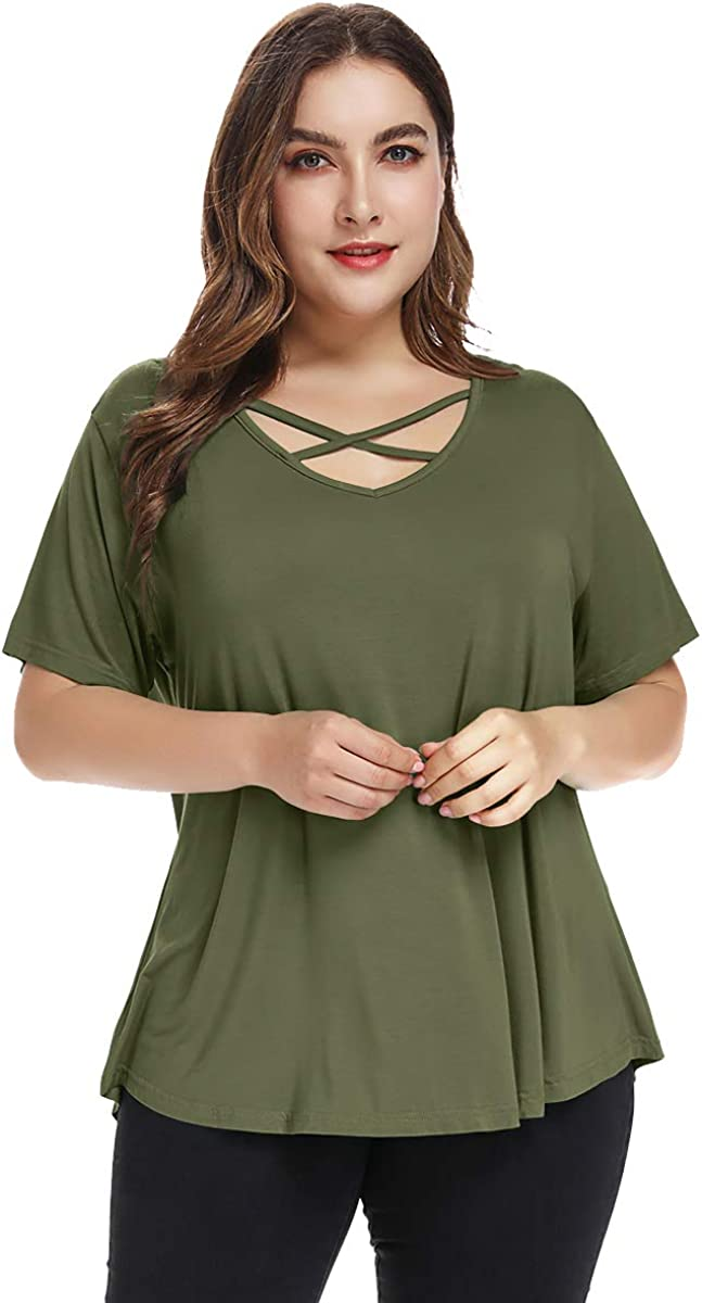 BELAROI Women Plus Size Criss Cross V-Neck Tunic Top Loose T Shirt