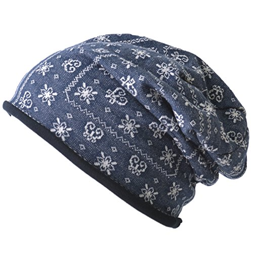 CHARM Casualbox | Organic Cotton Beanie Hat - Reversible Bandana Pattern Fashion Cap - Made in Japan - Unisex Fashion (Knit Skull Cap Pattern)