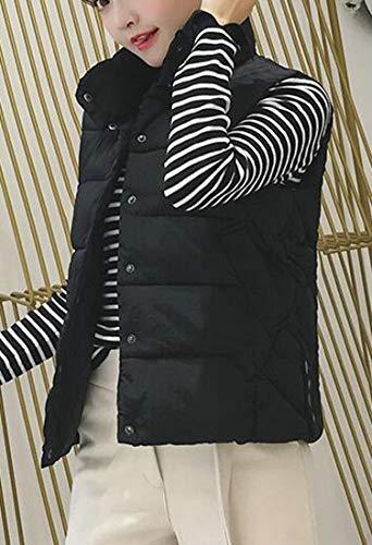 Winter H Collar Stand amp;E Thick Jacket Padded Black Women Cotton Sleeveless Vest Down wq0Z0xWEnr