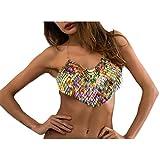 MineSign Fashion Sexy Chain Necklace Bra Summer Body Jewelry Accessories for Bikini Beach Party (rainbow camisole)