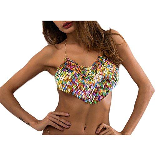 (MineSign Fashion Sexy Chain Necklace Bra Summer Body Jewelry Accessories for Bikini Beach Party (Rainbow)