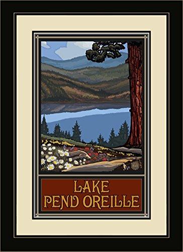 Northwest Art Mall PAL-5663 FGDM LKTH Lake Pend Oreille Idaho Trails Hills Framed Wall Art by Artist Paul A. Lanquist, 16 x 22