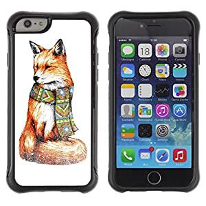 Hybrid Anti-Shock Defend Case for Apple iPhone 6 4.7 Inch / Stylish Hipster Fox Painting