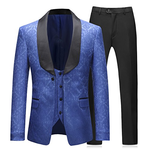 Boyland Mens 3 Piece Tuxedos Elegant Jacquard Royal Blue Suit Slim Fit(Tux Jacket+Vest+Pants) -