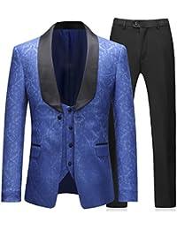Mens 3 Piece Tuxedos Elegant Jacquard Royal Blue Suit Slim Fit(Tux Jacket+Vest+Pants)