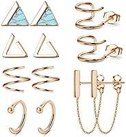 Subiceto 6 Pairs Minimalist Hoop Stud Earrings Set for Men Women Small Triangle Cuff Huggie Chain Dangle Earri