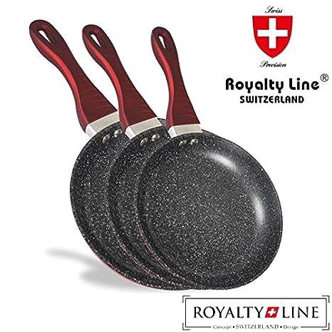 Royalty Line Juego de 3 sartenes con revestimiento de piedra en aluminio, revestimiento antiadherente de mármol, metal, Suiza concepto de diseño: Amazon.es: ...