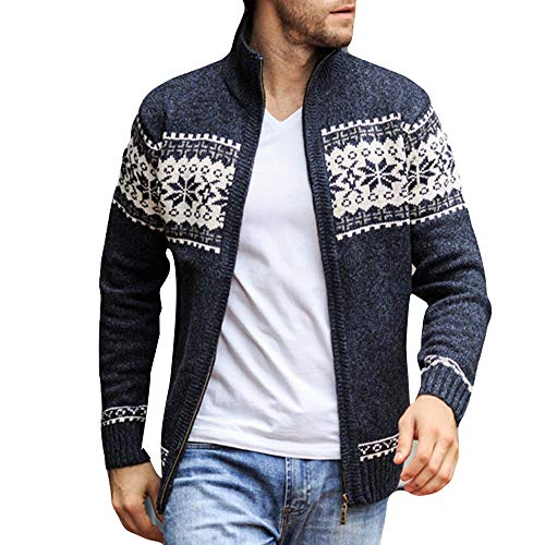 YKARITIANNA Men's Autumn Winter Cable Knit Sweaters, Zip Up Coats Men's Jacquard Slim Neck Collar Knitted Leisure Jacket