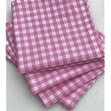 FUNKINS Reusable Cloth Lunchbox Napkins, Set of 4, Pink Gingham