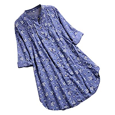 dumanfs Womens V-Neck Pleated Floral Print Long Sleeve Casual Tops T-Shirt Blouse Pullover