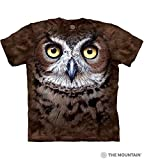 The Mountain Great Horned Owl Head Adult T-Shirt, Brown, Large
