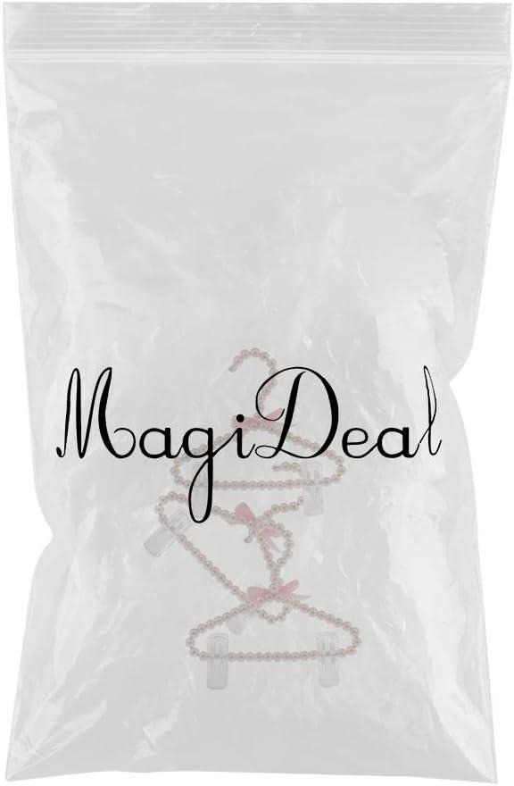 Rosa MagiDeal 3Pcs 20cm Supporto Grucce Per Abito Da Donna con Perline Decorazione /& Clip Ideael per Vestito di Bambino