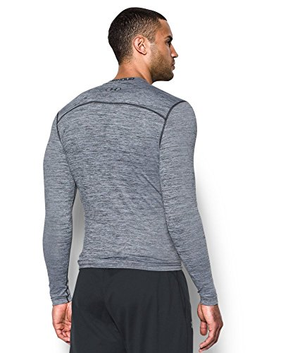Under Armour Men's ColdGear Armour Twist Compression Crew, White/Black, Small by Under Armour (Image #1)