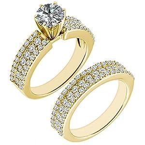1.88 Carat G-H I2-I3 Diamond Engagement Wedding Anniversary Halo Bridal Ring Set 14K Yellow Gold
