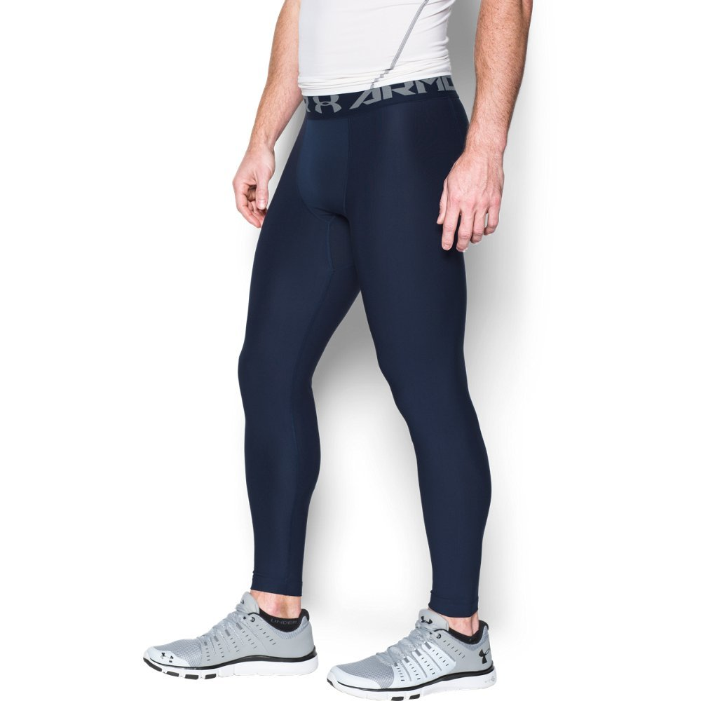 Under Armour Men's HeatGear Armour 2.0 Leggings, Midnight Navy (410)/Steel, X-Large by Under Armour