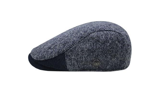 XueXian(TM) Lana Coppola Uomo Caldo Cappello Invernale Gatsby cap Hat(Blu  Scuro dba85fdd10bc