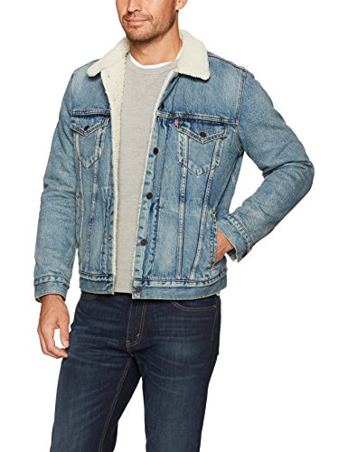 Levi's Men's Type III Sherpa Jacket, Mustard Blue Denim, S
