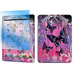 Apple iPad Air Decal Vinyl Skin Sticker + Screen Protector By SkinGuardz - Purple Butterfly