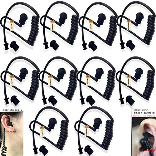 Replacement Coil Tube, Black Twist On Acoustic Audio Tube with Earbuds Eartips Compatible for Motorola Midland Kenwood Two Way Radio, Pack of 10, by Lsgoodcare