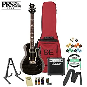 Paul Reed Smith PRS SE Mark Tremonti Custom with Tremolo (TRCGB) Electric Guitar with Accessories, Marshall Amp and PRS Gig Bag, Grey/Black