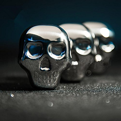 304 Stainless Steel Skull Shaped Ice Cubes Wine Chillers Chilling Whiskey Stones Pack of 3 With Tong for Alcohol Beer Beverage Drinking