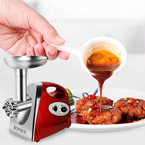 ROVSUN Electric Meat Grinder, 800W Stainless Steel Mincer Sausage Stuffer, Heavy Duty Food Processor with 4 Grinding Plates - 3 Sausage Tubes - 2 Blades - Kubbe Attachment & Brush, ETL Approved by ROVSUN (Image #5)