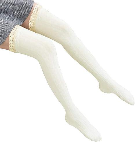 SLXFAD Medias Mujeres Niñas Calcetines Altos Encaje Botas de puño Calentador Mezcla de algodón Pierna Larga Tubo Calcetines Calcetines de Punto Casual Hipster: Amazon.es: Deportes y aire libre