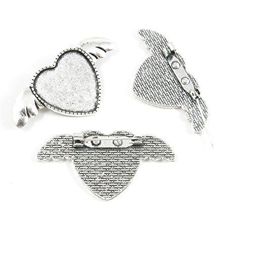 5 Pieces Antique Silver Tone Jewelry Making Supply Charms Filigrees Arts Crafts Beading Findings Crafting H4IP6N Pinback Brooch Heart Cabochon Setting Blank