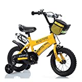 Bicyclehx Children's Bicycle Boys Girls Bikes 2-11 Years Baby Carriers Student Safe Secure Kid Bike with Canvas Basket Kettle In 12/14/16/18 Inch (Color : Yellow, Size : 14 inch)