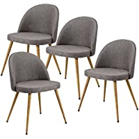 Giantex Set of 4 Accent Arm Chair For Living Room Fabric Cushion Seat Metal Leg Dining Chair (Dark Gray)