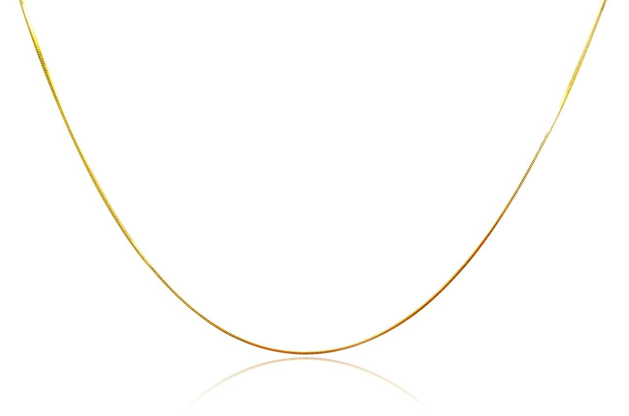 18 Inches, yellow-gold Millardo Jewelry Basic Collections Italian Designed 1.2mm Wide 18K Gold Square Shaped Snake Chain Necklace