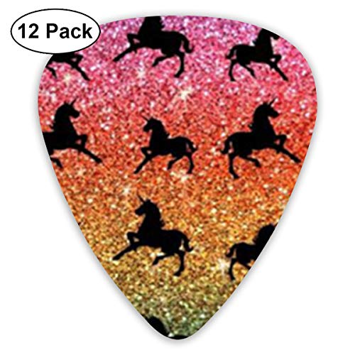 Guitorbfd Rainbow Glitter Unicorns Guitar Picks,3 Different Thicknesses Guitar Sampler Includes Thin, Medium, Heavy Gauges(12pcs)