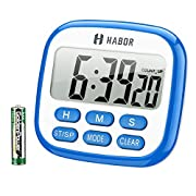 Habor Digital Kitchen Timer, Cooking Timer, Large Display, Strong Magnet Back, Loud Alarm, Memory Function, 12-Hour Display Clock, Count-Up & Count Down for Cooking Baking Sports Games Office …