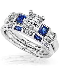 blue sapphire diamond wedding rings set 1 12 carat ctw in 14k white gold - Diamond Wedding Rings Sets